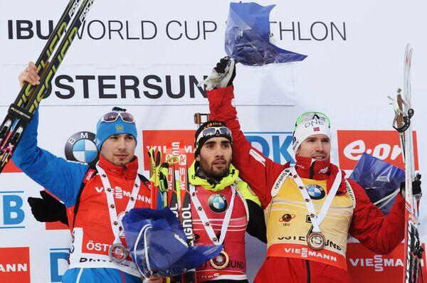 Антон Шипулин, Мартен Фуркад и Эмиль Хегле Свендсен (слева направо)