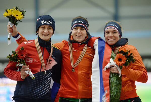 Мартина Сабликова (Чехия) - второе место, Ирен Вюст (Нидерланды) - первое место, Линда де Врис (Нидерланды) - третье место