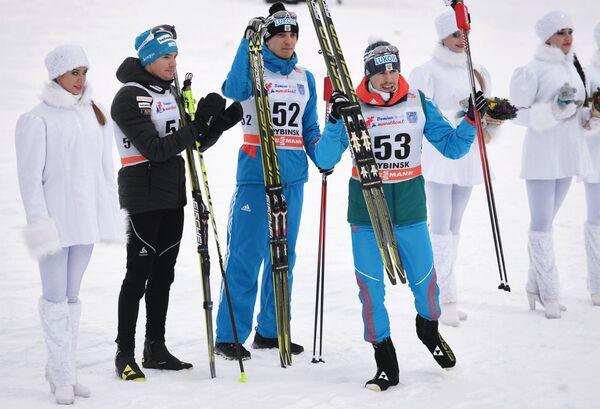 (слева направо): Дарио Колонья (Швейцария) – 1-е место, Евгений Белов (Россия) – 2-е место, Сергей Устюгов (Россия) – 3-е место