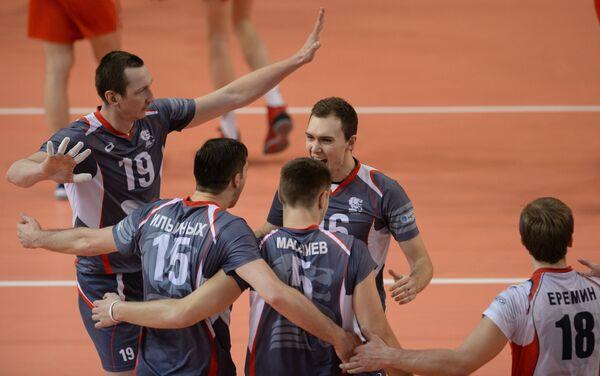 Игровой момент матча Локомотив - Белогорье