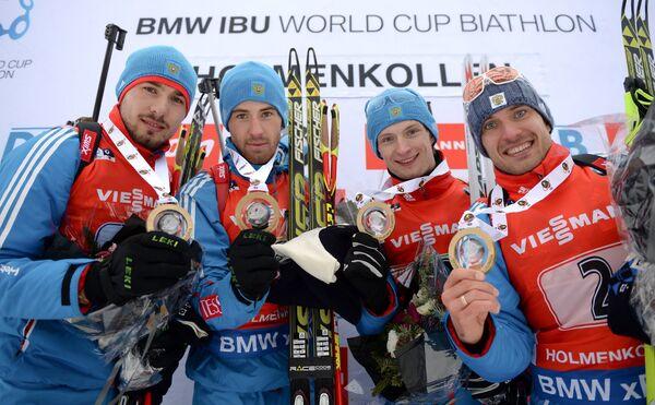 Антон Шипулин, Дмитрий Малышко, Максим Цветков, Евгений Гараничев (слева направо)