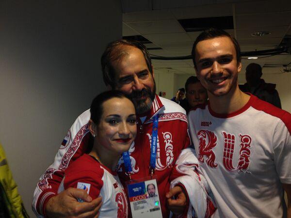 Хорхе Фернандес с фигуристами Ксенией Столбовой и Федором Климовым
