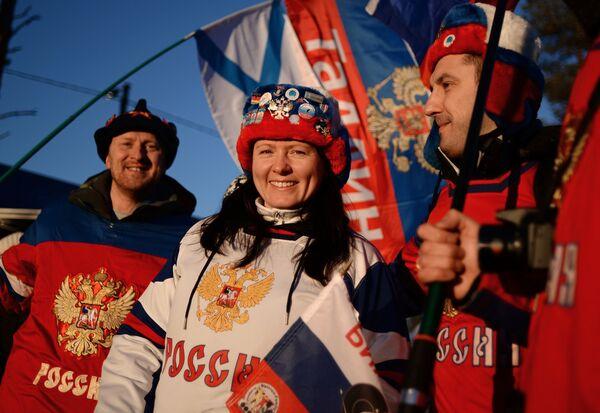 Болельщики на чемпионате мира по биатлону в финском Контиолахти