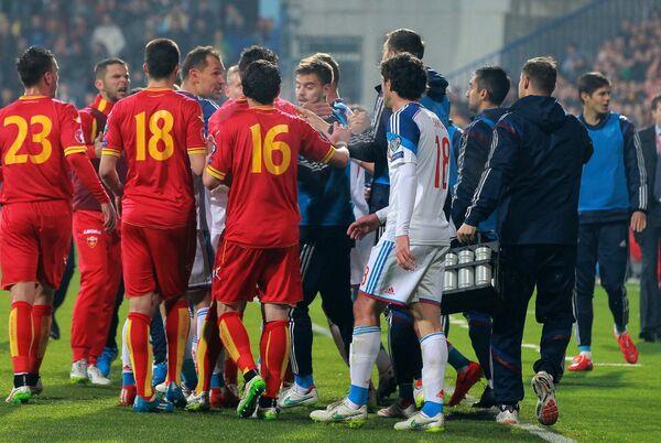 Игроки сборной Черногории Марко Симич, Адам Марусич и Младен Кашчелан (слева направо)