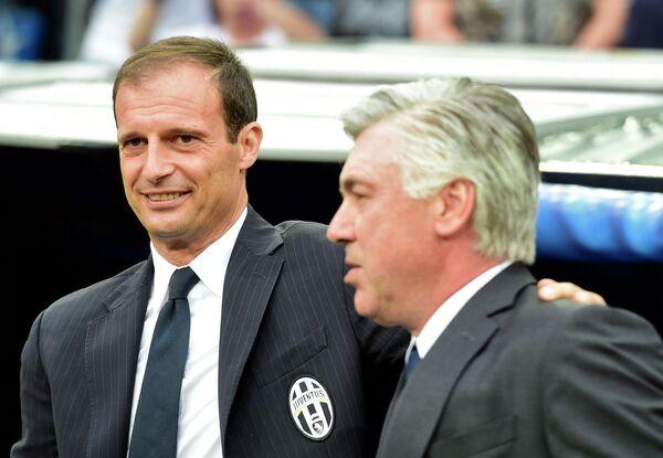 Главный тренер Реала Карло Анчелотти и главный тренер Ювентуса Массимилиано Аллегри