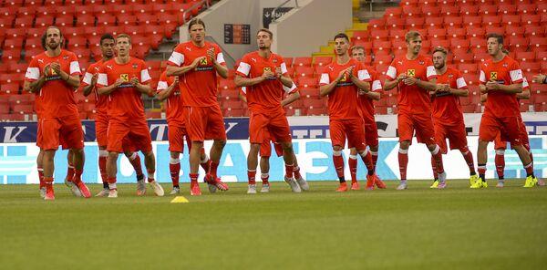 Футболисты сборной Австрии на тренировке