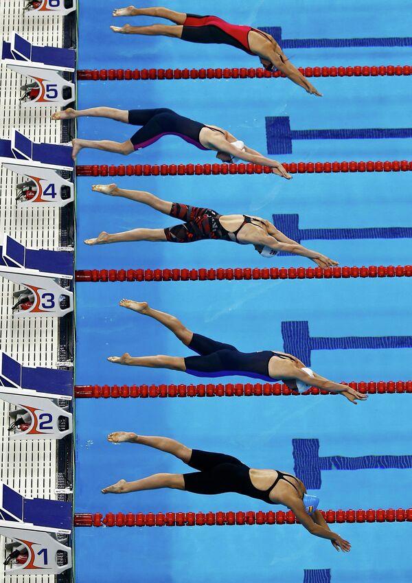 Пловцы на дистанции 100 метров вольным стилем среди женщин на I Европейских играх в Баку