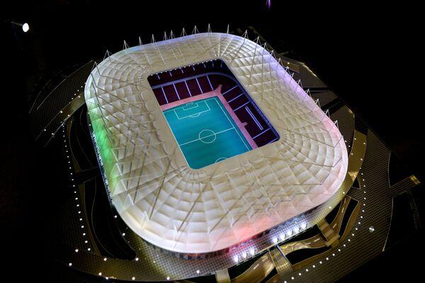 Макет стадиона Ростов-Арена в Ростове-на-Дону, который строится к чемпионату мира по футболу 2018 года