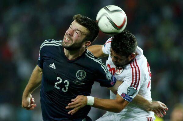 Игровой момент матча Грузия - Шотландия