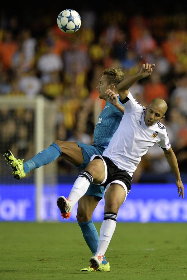 Игровой момент матча Валенсия  - Зенит
