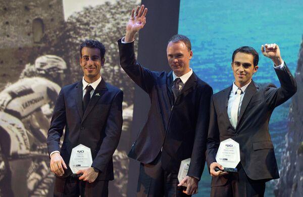 Фабио Ару, Крис Фрум и  Альберто Контадор (слева направо)
