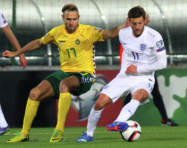 Игровой момент матча Литва - Англия