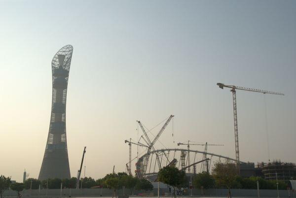 Строительство стадиона Khalifa International Stadium, декабрь 2015 года