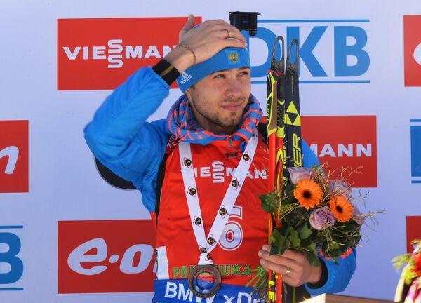 Антон Шипулин, занявший 3-е место в гонке преследования в Поклюке