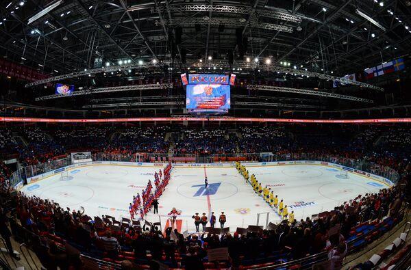 Церемония открытия матча второго этапа Еврохоккейтура 2015/16 Кубок Первого канала между сборными командами России и Швеции