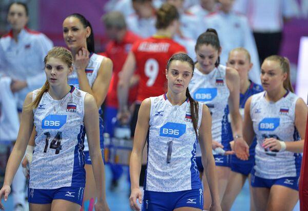 Волейболистки сборной России Ирина Фетисова, Яна Щербань (слева направо)