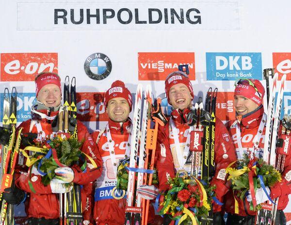 Йоханнес Бё, Уле-Эйнар Бьерндален, Тарьей Бё, Эмиль Хегле Свендсен (слева направо)