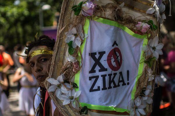 Участник Карнавала в Рио с надписью, призывающей к борьбе с вирусом Зика