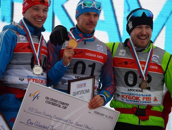 Андрей Парфенов - второе место, Николай Морилов - первое место, Михаил Девятьяров - третье место (слева направо)