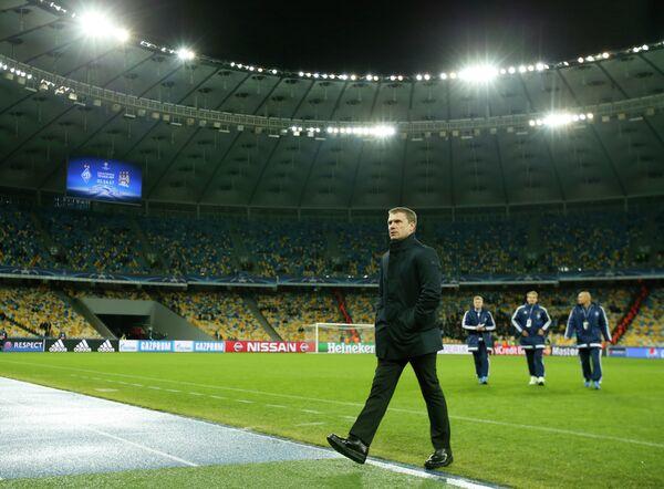 Главный тренер киевского Динамо Сергей Ребров (на переднем плане)