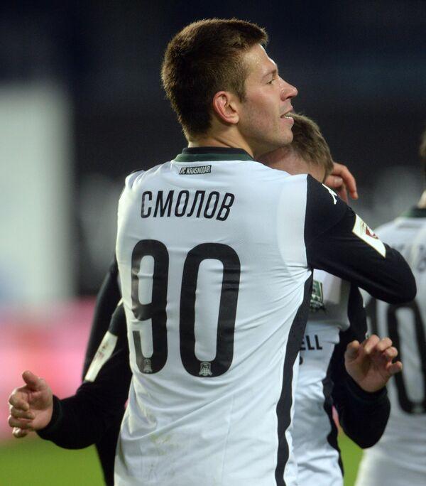 Нападающий Краснодара Фёдор Смолов радуется забитому мячу