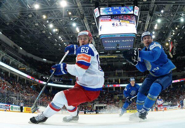 Игровой момент матча Казахстан - Россия