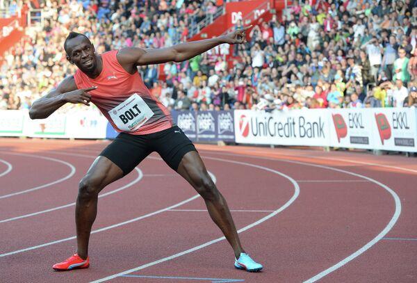 Усэйн Болт после победы на 100-метровке на турнире в Остраве, Чехия