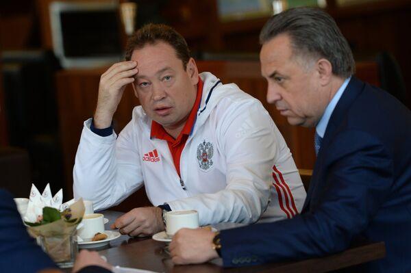 России Леонид Слуцкий (слева) и Виталий Мутко