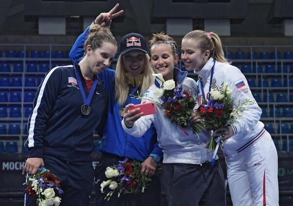 Слева направо: Мариэль Загунис (США) – второе место, Ольга Харлан (Украина) – первое место, Ирен Веччи (Италия) и Юлия Гаврилова (Россия) – третье место