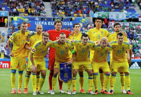 Футболисты сборной Украины перед началом матча