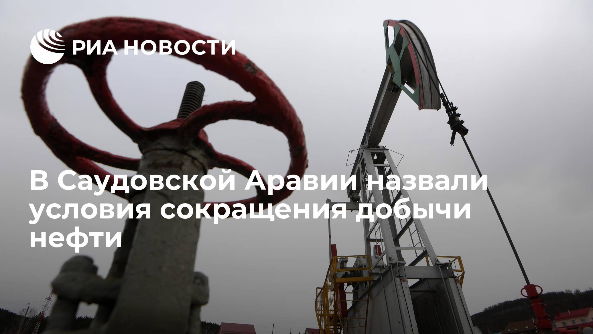 В Саудовской Аравии назвали условия сокращения добычи нефти - РИА НОВОСТИ