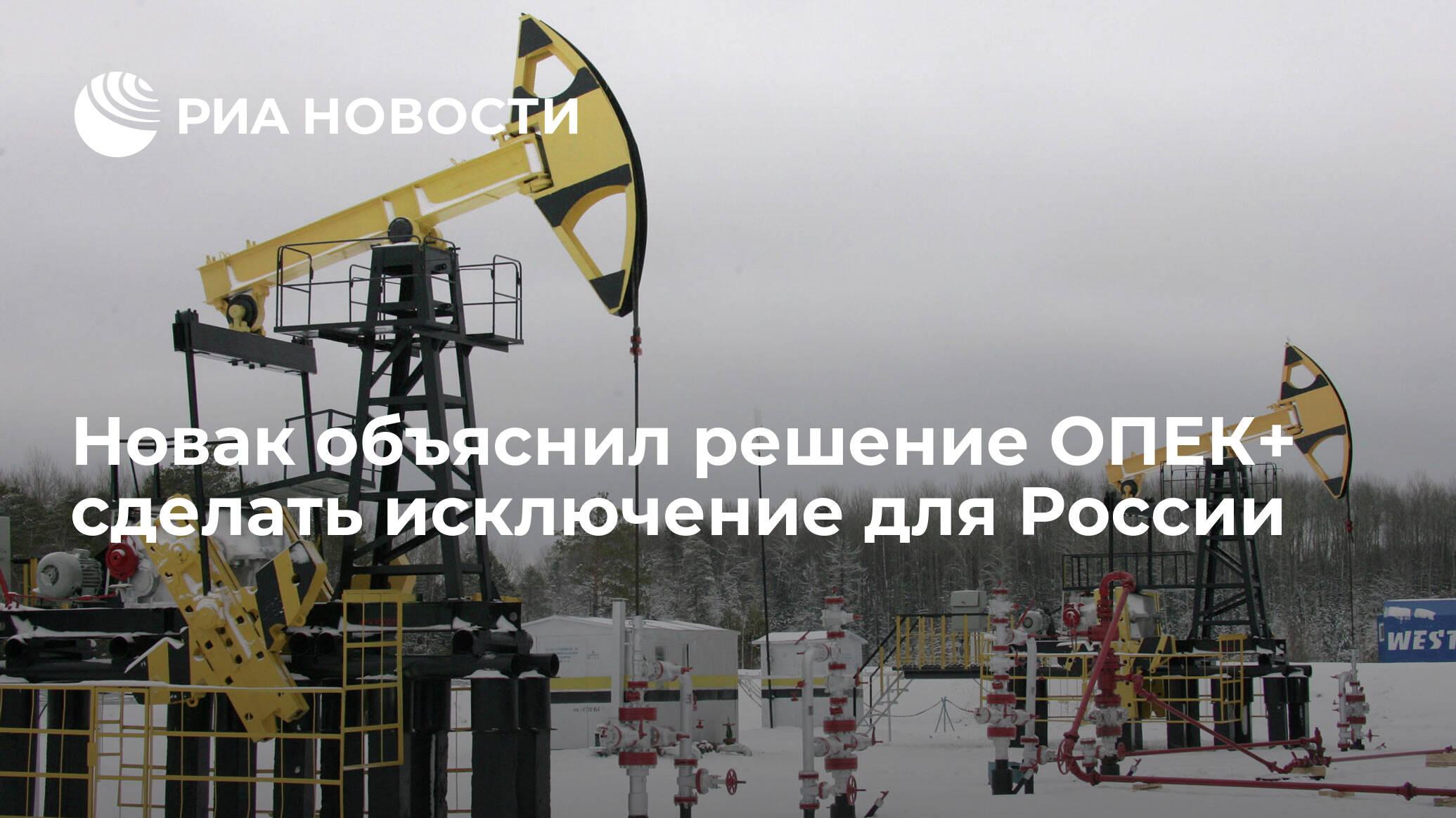 Новак объяснил решение ОПЕК+ сделать исключение для России - РИА НОВОСТИ